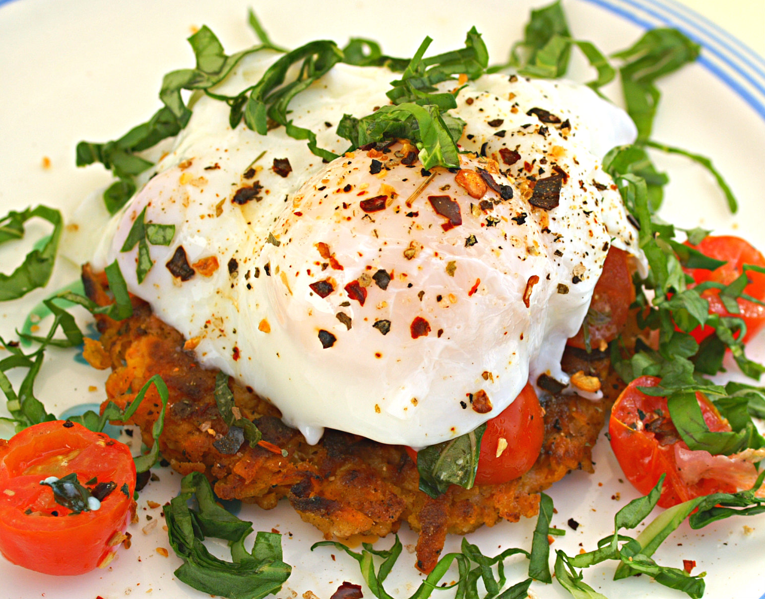 poached egg recipe tops nests of roasted sweet potatoes with eggs ...