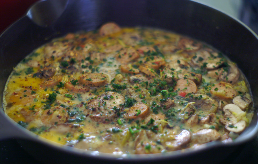 Low Calorie Sausage and Mushroom Frittata