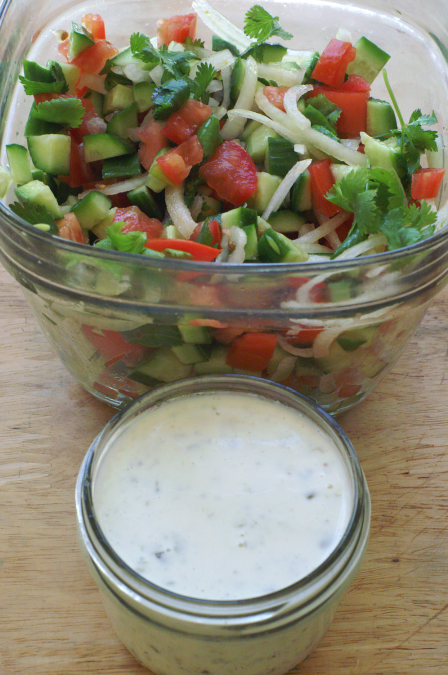 Cucumber and Tomato salad with Low Calorie Dressing