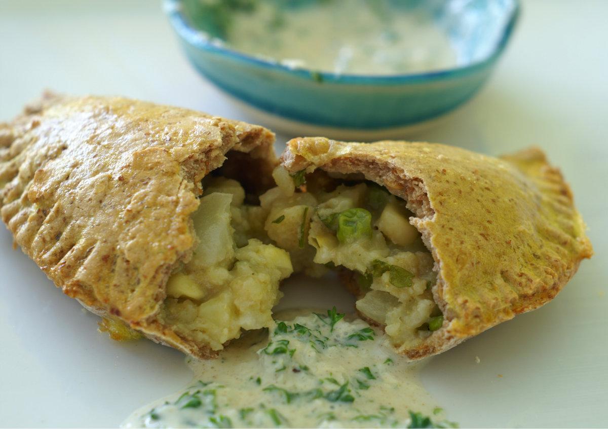 Potato and Pea Stuffed Flatbread