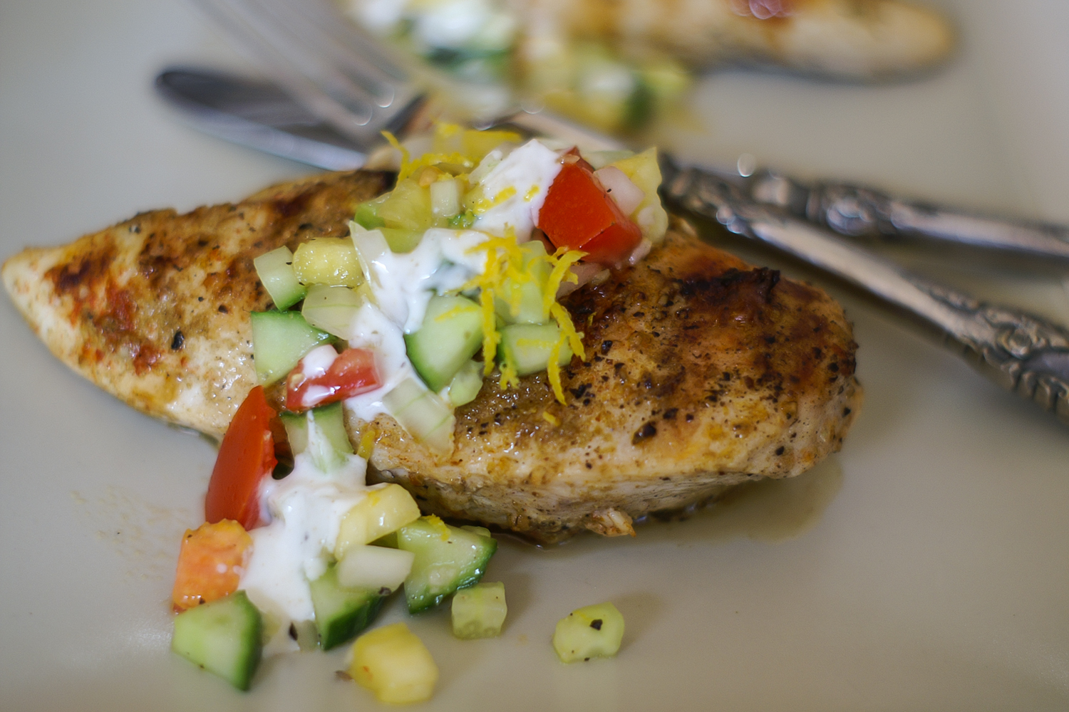 healthy Grilled Chicken with Lemon & Pineapple Salsa & Yoghurt Sauce
