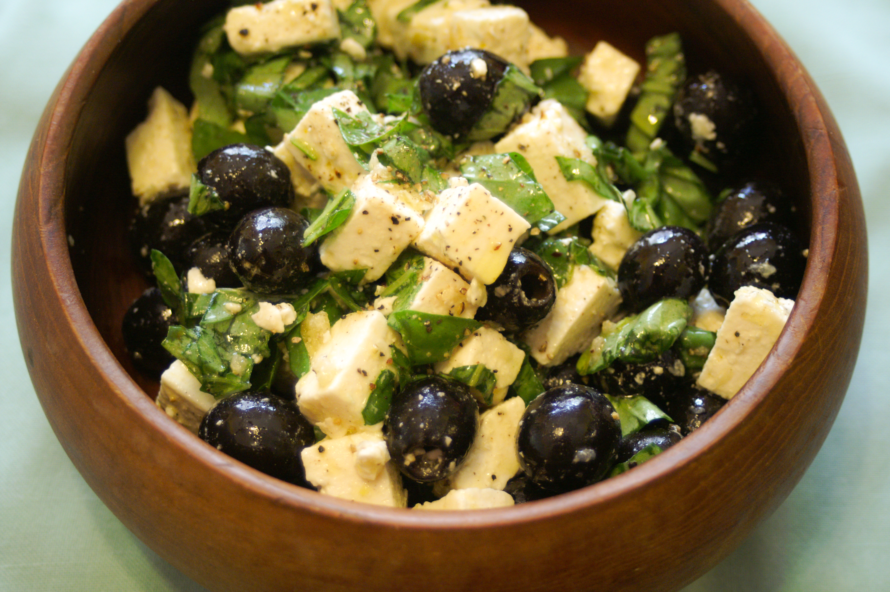 healthy greek feta and olive salad