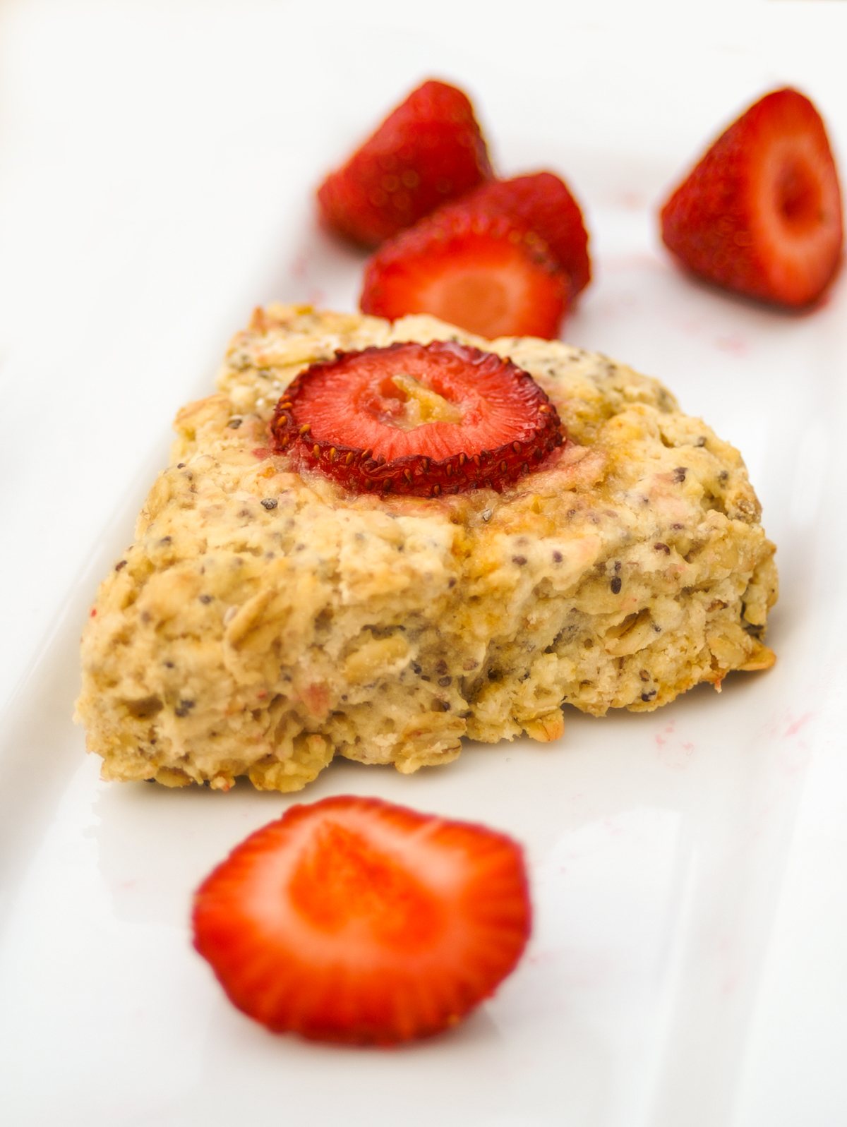 vegan Chia Oatmeal Breakfast Scone With Strawberries