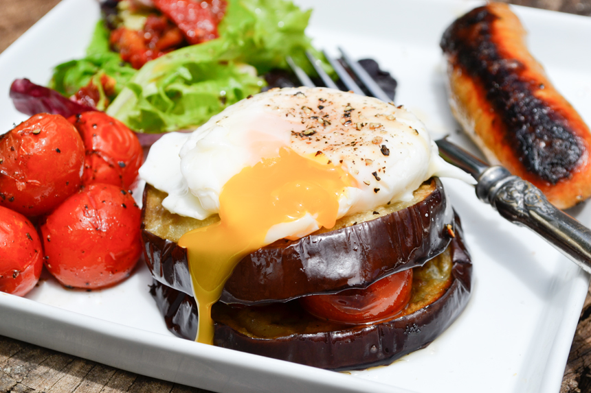 Paleo Breakfast Eggplant Stacks