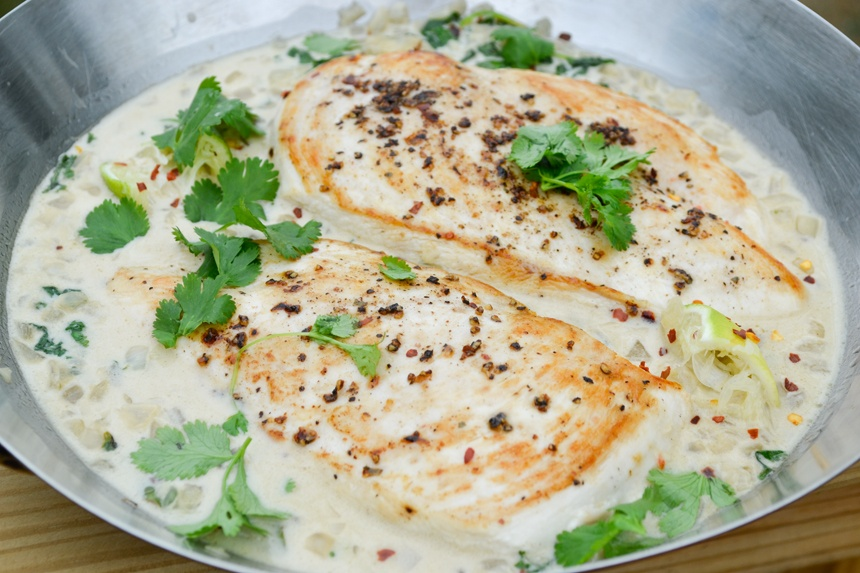 Creamy Paleo Black Pepper Chicken with Cilantro Lime Sauce