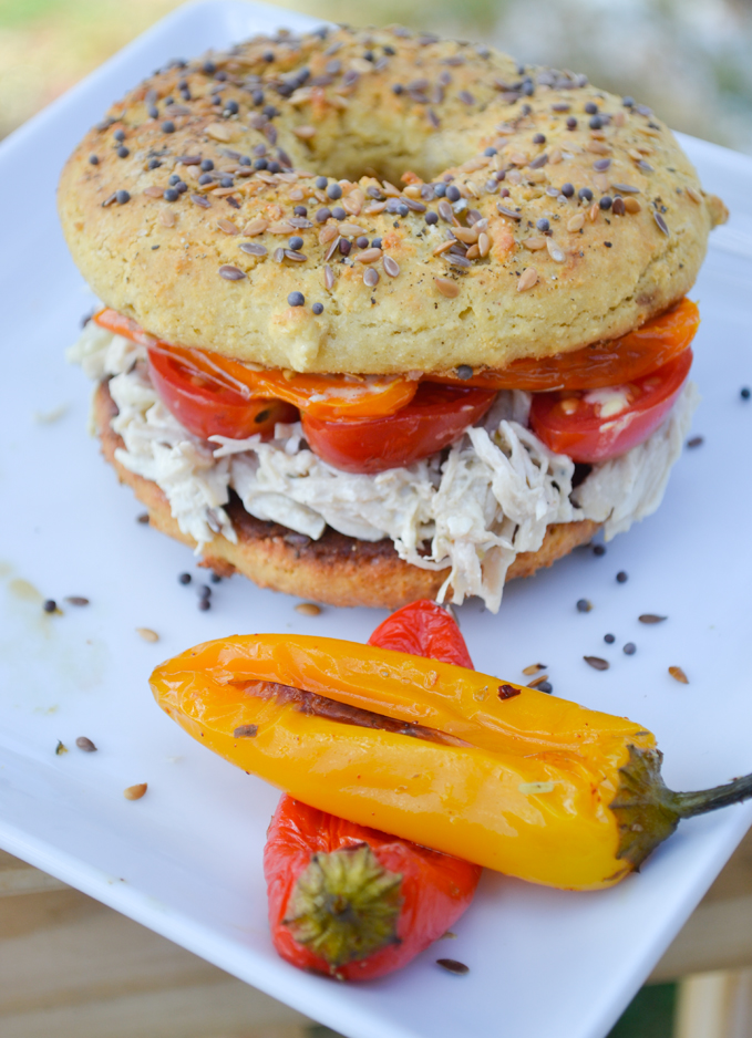 Paleo Chicken Salad Bagel with Roasted Baby Bells